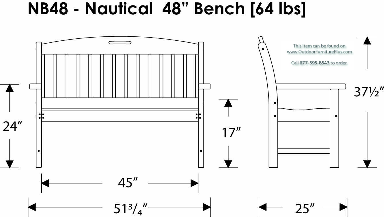Polywood 174 Nautical 48 Inch Bench Outdoor Furniture Plus