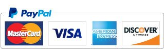We accept PayPal, Visa, MasterCard, Amercian Express, and Discover