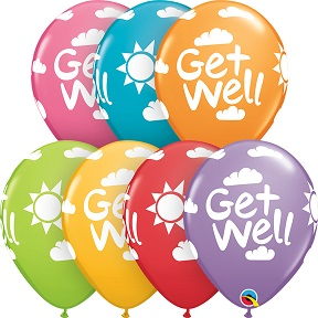 Assorted Colors Of Printed Get Well Latex Balloons