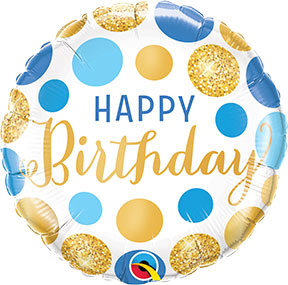 Birthday Blue And Gold Dots $6.99