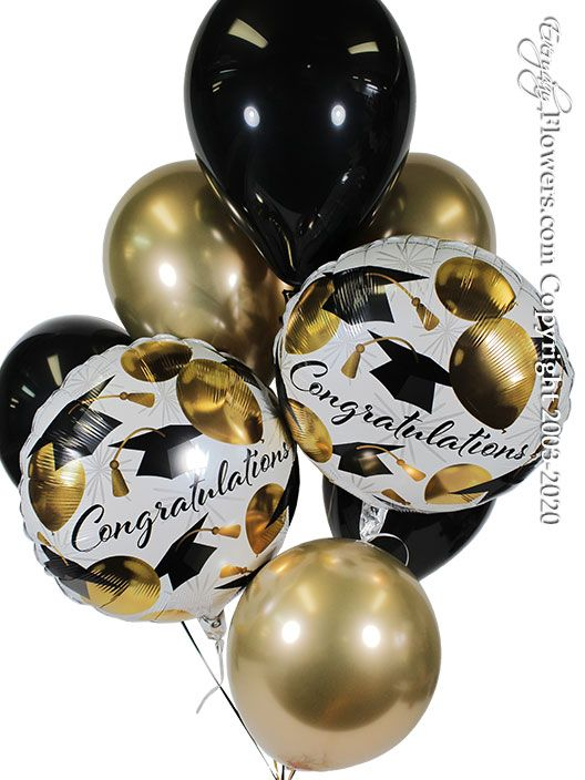 Congratulations Graduation Caps And Gold Balloon Bouquet CBB353 $29.99
