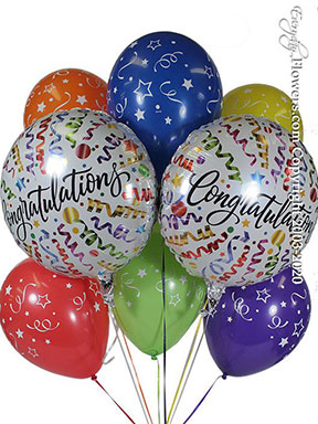 Congratulations Streamers Balloon Bouquet CBB358 $29.99