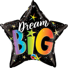 Dream Big Star Shaped foil balloons printed with a Dream Big message
