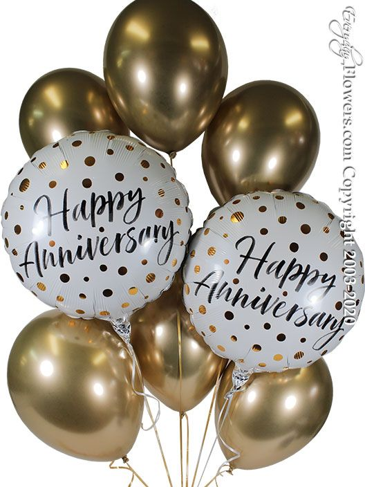 Happy Anniversary Gold Balloon Bouquet CBB355 $29.99