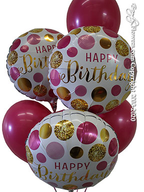 Happy Birthday Pink And Gold Dots Balloons CBB361 $29.99