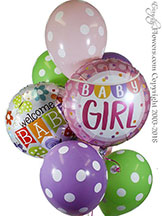 Welcome Baby Girl Balloon Bouquet $29.99