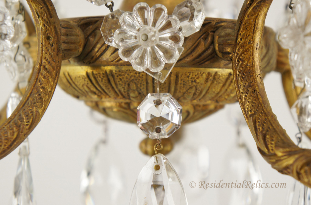 Details - Vintage Spanish Cast Brass And Cut-crystal Chandelier, Circa 1940s