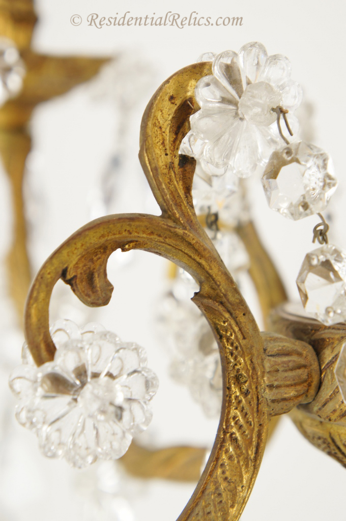 5-candle Spanish cast brass and cut-crystal chandelier, circa 1940s - Vintage Spanish Cast Brass And Cut-crystal Chandelier, Circa 1940s