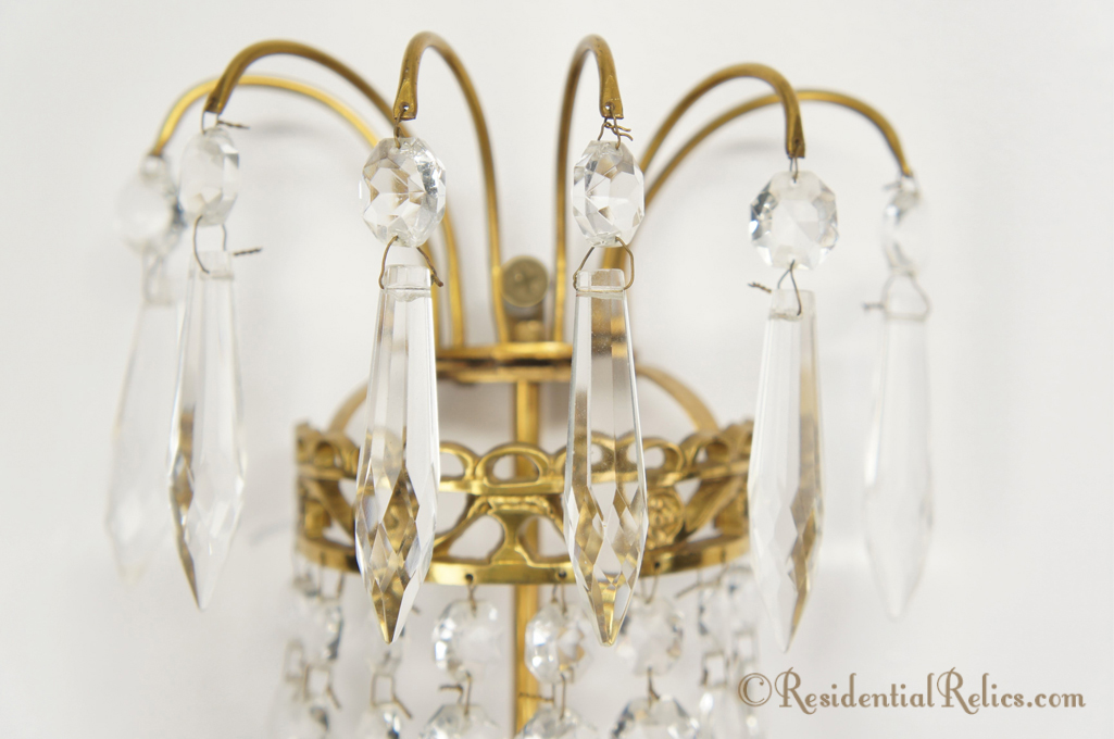 Pair Vintage 1930s French Cut Crystal Basket Wall Sconces