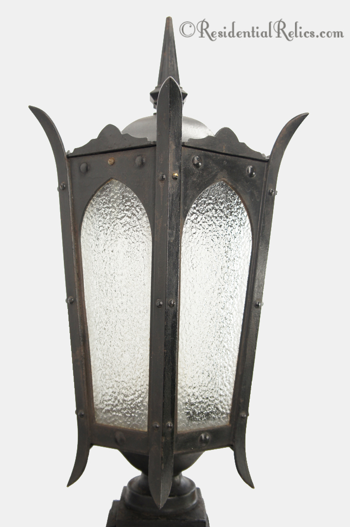 Large Cast Iron Outdoor Wall Lantern With Textured Gl Panels Circa 1910s