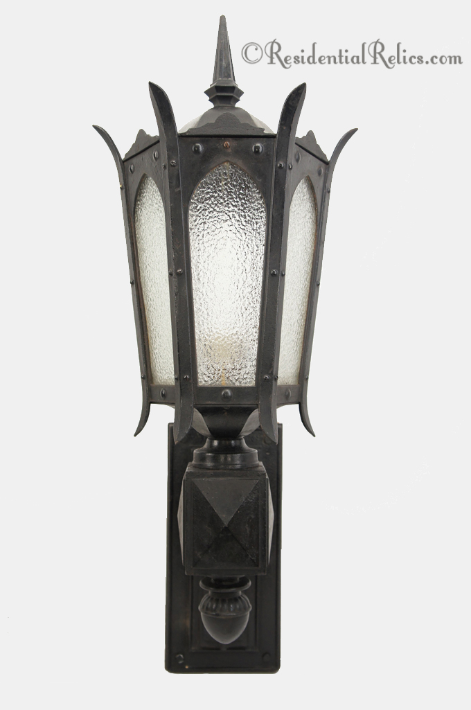 Antique 1910s Large Cast Iron Outdoor Wall Lantern With