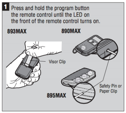 Liftmaster 893MAX 3 Button Visor Remote Control Opener Instructions