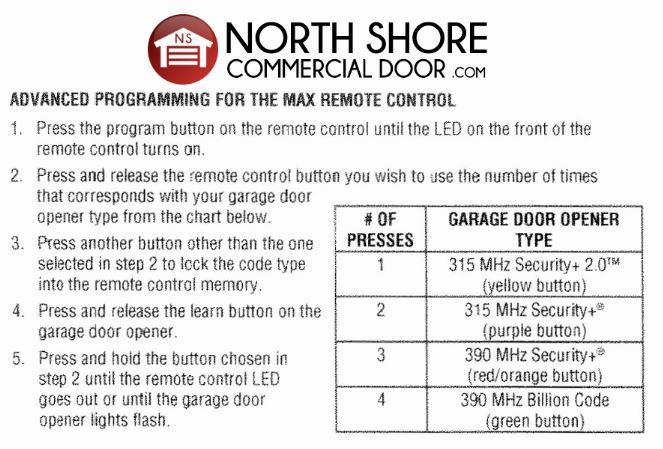 Advanced Programming Instructions for the Max Remote Control