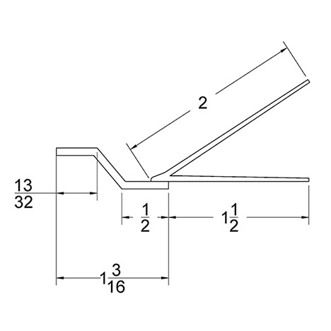 Garage Door Top Section Seal Dual Flap TS-14 Technical Drawing