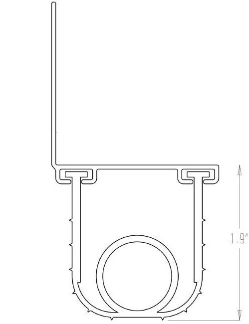 Ultra Rubber Garage Door T-End Tube Bottom Rubber Weather Seal Technical Drawing