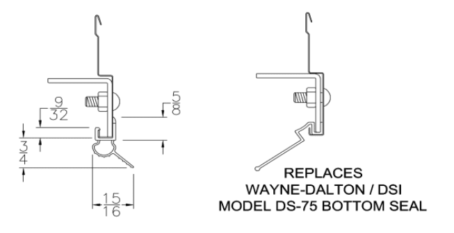 Snap-On Mini Warehouse Garage Door Bottom Weather Seal Technical Drawing and measurements