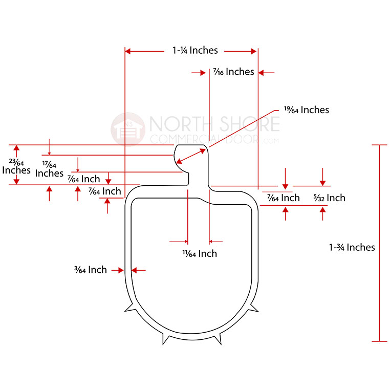 Windsor P-Bulb Garage Door Bottom Weather Seal  Technical Drawing and Measurments