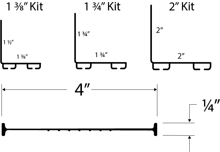 Universal Garage Door Bottom Weather Seal Replacement Kit Technical Drawing and Measurements
