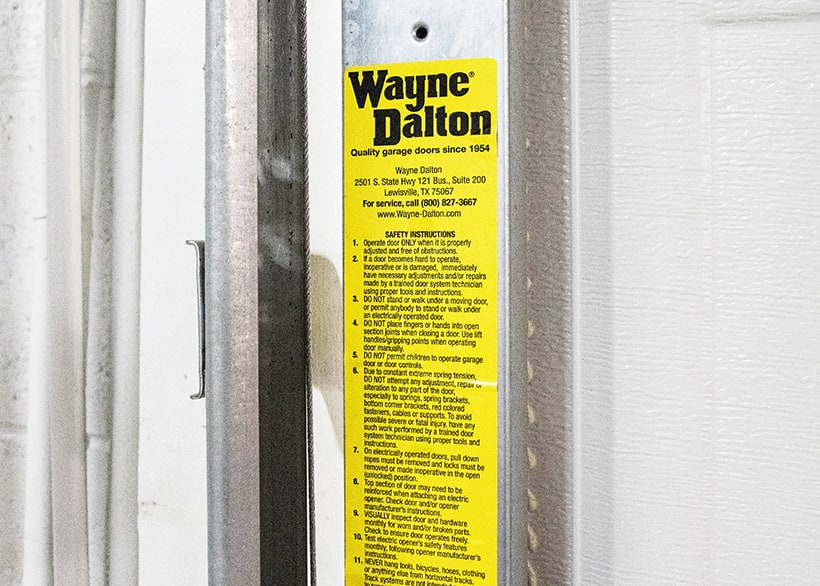Garage Door Branded Warning Label