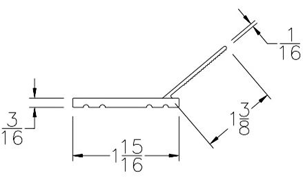 Garage Door Side and Top Weather Seal Stop Molding 150Ft Roll Technical Drawing