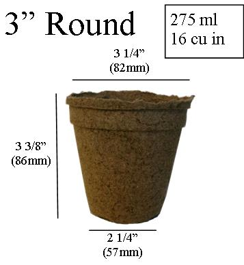 dimentions CowPots 3 inch Round