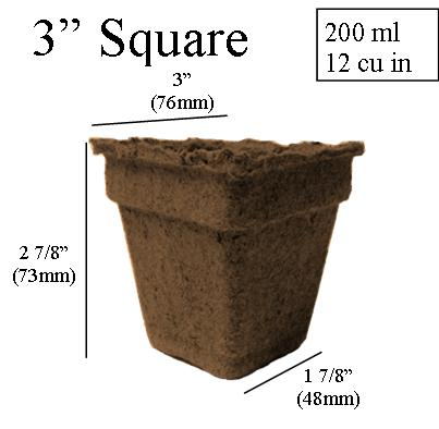dimentions CowPots 3 inch Square