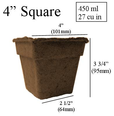 dimentions CowPots 4 inch Square