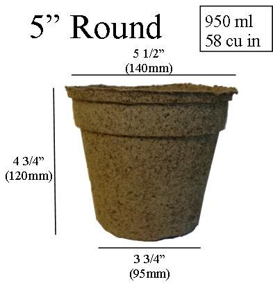 dimentions CowPots 5 inch Round