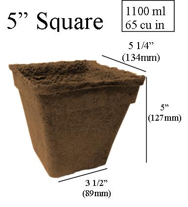dimentions CowPots 5 inch Square