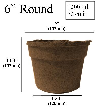 Dimentions Cowpots 6 Inch Round