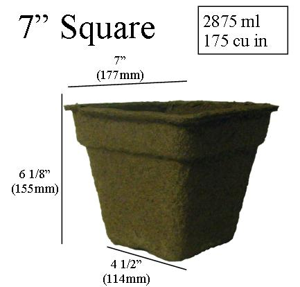 dimentions CowPots 7 inch Square
