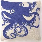 Blue Octopus hooked Pillow