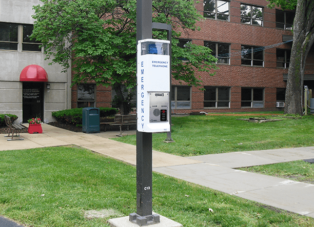 36 in Standard Blue Light Call Station on a college campus