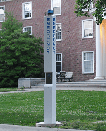 9 ft Blue Light Standard Tower installed on college campus