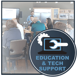 Education and Tech Support: Click to Ask the Expert, Sign up for Lunch and Learn, Read Glossary of Terms or Contact Tech