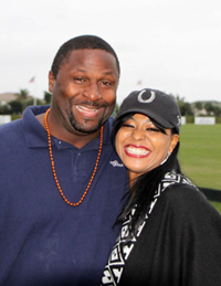 Bennie Blades, Detroit Lions and Dominique Nicole at West Palm International Polo Club