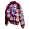 This image displays a custom red virgin wool body and red leather sleeve varsity letterman jacket along with a large number of custom letterman patches. This varsity jacket has a many different style of chenille patches that have a good deal of upgrades to them. This jacket was created by customchenillepatches.com as a hall-of-fame letterman jacket package.