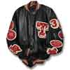 This picture shows an all leather varsity letterman jacket along with stylish custom chenille patches and awards.