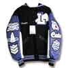 This leather 3 color sleeve letterman jacket has a sailor collar and assorted custom chenille patches.  The patches are embellished with crystal rhinestones and various chenille prinst such as a polka-dot pattern and a chevron pattern.
