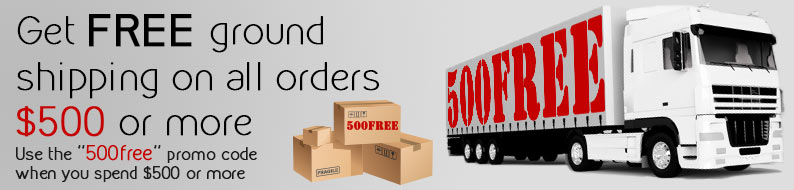 Free ground shipping on all orders $500 with 500free promo code