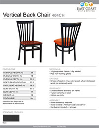 Full Vertical Back Chair