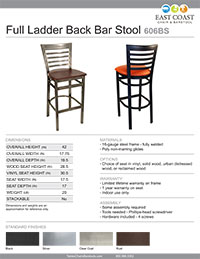 Full Ladder Back Bar Stool