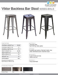 Viktor Steel Restaurant Backless Bar Stool