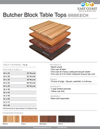 Amish Built Solid Beech Wood Butcher Block Taple Top