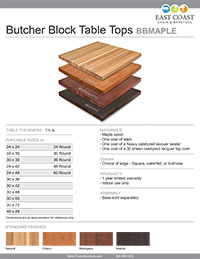 Butcher Block Maple Table Top