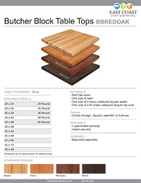 Red Oak Butcher Block Table Top