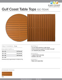 Gulf Coast Collection Aluminum/Teak-Inspired Poly Lumber Outdoor Restaurant Table Top