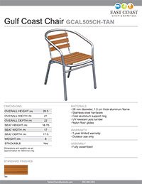 Gulf Coast Collection Teak-Inspired Poly Lumber Outdoor Chair with Aluminum Frame