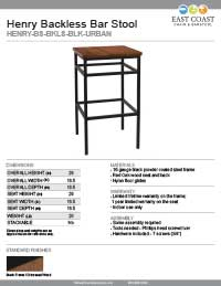 Henry Steel Backless Bar Stool with Distressed Wood
