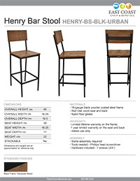 Henry Steel Bar Stool with Distressed Wood